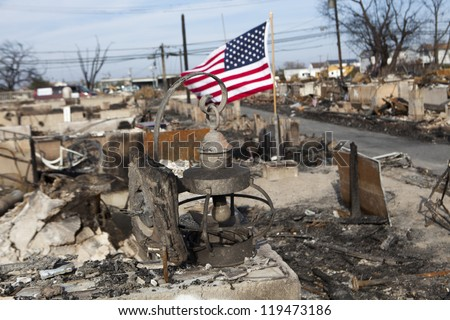 NEW YORK -NOV 12:Destroyed homes during Hurricane Sandy in the flooded neighborhood at Breezy Point in Far Rockaway area  on November 12, 2012 in New York City, NY - stock photo