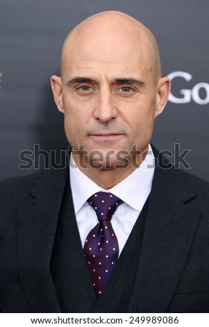 """NEW YORK - NOV 17, 2014: Mark Strong attends the premiere of """"The Imitation Game"""" at the Ziegfeld Theatre on November 17, 2014 in New York City. - stock photo"""