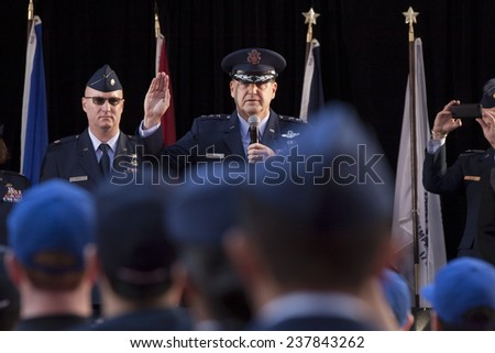 NEW YORK - NOV 11, 2014: New recruits to the US Air Force are sworn in by Lt. Gen. Stephen L. Hoog during the 2014 America's Parade held on Veterans Day in New York City on November 11, 2014. - stock photo