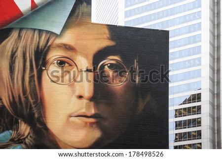 NEW YORK - NOV 11: Poster of  John Lennon (Beatles) seen on display in Calgary on Nov 11, 2005 in Calgary Canada.  - stock photo