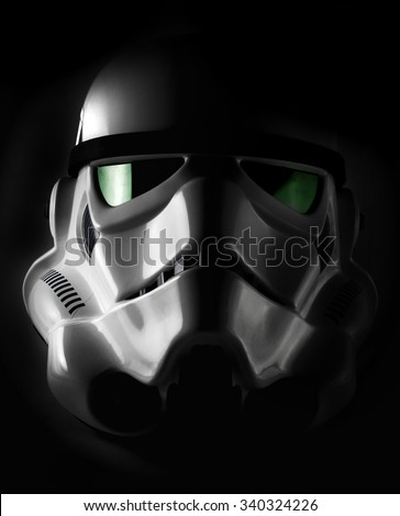 NEW YORK - NOV 7 2015: Studio portrait of an EFX brand Star Wars ANH Stormtrooper helmet. Star Wars The Force Awakens opens December 18th 2015 worldwide. The Star Wars franchise is owned by Disney - stock photo