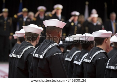 NEW YORK - NOV 25 2015: U.S. Navy sailors march past the VIP viewing stage during the annual Americas Parade up 5th Avenue on Veterans Day in Manhattan. - stock photo