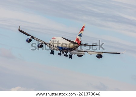 NEW YORK - NOVEMBER 3: Boeing 747 British Airways takes off from JFK in New York, NY on November 3, 2013. British Airways is one of the oldest airlines and it is rated top 3 biggest in Europe. - stock photo