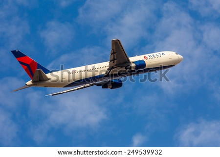 NEW YORK - NOVEMBER 3: Boeing 767 Delta Air Lines departures from JFK Airport in New York, USA on November 3, 2013. Delta is one of the largest and most successful air carriers in the United States. - stock photo