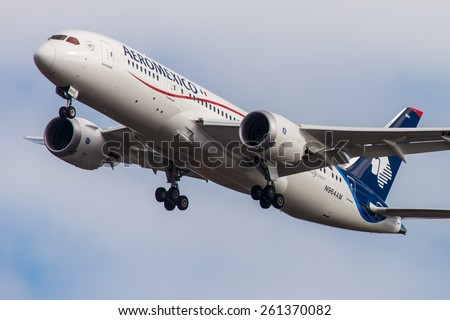 NEW YORK - NOVEMBER 3: Boeing 787 Dreamliner Aeromexico departs from JFK in New York, USA on November 3, 2013. Aeromexico is the flag carrier airline of Mexico and the biggest Mexican Airline. - stock photo