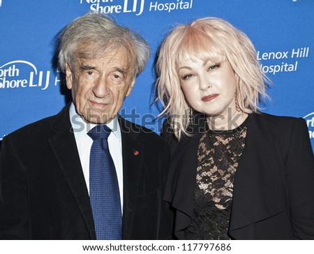 NEW YORK - NOVEMBER 05: Elie Wiesel & Cyndi Lauper attend Lenox Hill hospital Autumn ball, award ceremony and fundraising to hurricane SAndy victims in Waldorf Astoria on Nov 05, 2012 in New York CIty - stock photo