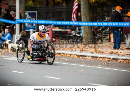 NEW YORK - NOVEMBER 3: GAERTNER Justin of United States competing for the 2013 NYC Marathon in the Handcycle Category and Select Athletes with Disabilities on November 3, 2013 in New York. - stock photo