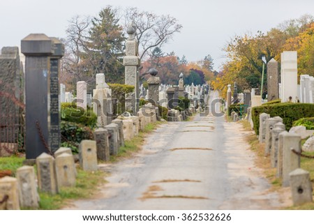 NEW YORK - NOVEMBER 6: Gravestones at Montefiore Cemetery in New York, NY on November 6, 2015. Montefiore Cemetery, also known as Old Montefiore Cemetery is a Jewish cemetery in Queens, NY. - stock photo