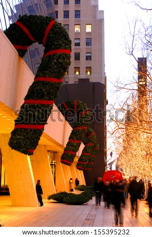 NEW YORK - November. 22nd : Saks 5th Ave department store Christmas Light Show, digital images are displayed on the building during the holiday season,on November. 22nd. 2011 in New York City - stock photo