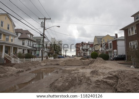 NEW YORK - November 1: Neighborhood after Hurricane Sandy  in the Far Rockaway area  on October 30, 2012 in New York City, NY - stock photo