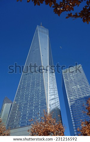NEW YORK - NOVEMBER 3:  One World Trade Center in New York City officially opened for business on November 3, 2014.  At 1,776 feet tall, it is the tallest building in the Western Hemisphere. - stock photo