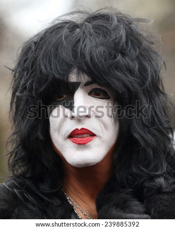 NEW YORK - NOVEMBER 27: Paul Stanley of KISS appears at the 88th Annual Macy's Thanksgiving Day Parade on November 27, 2014 in New York City. - stock photo