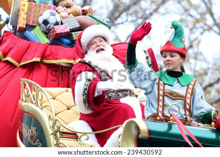 NEW YORK - NOVEMBER 27: Santa Claus attends the 88th Annual Macy's Thanksgiving Day Parade on November 27, 2014 in New York City.