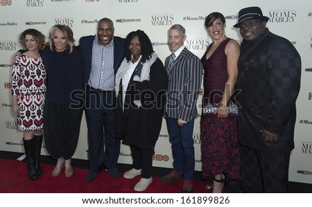 NEW YORK - NOVEMBER 7: Sara Bernstein; Sheila Nevins, Capone, Whoopi Goldberg, Tom Leonardis, Rain Pryor, Shawn Cornelius attend HBO Moms Mabley at Apollo Theater on Nov 7, 2013 in NYC
