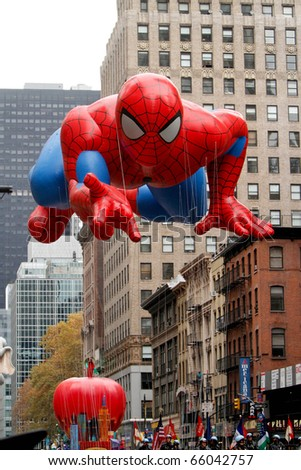 NEW YORK - NOVEMBER 25: The Spiderman float appears in the 84th Macy's Thanksgiving Day Parade on November 25, 2010 in New York City. - stock photo