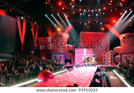 NEW YORK - NOVEMBER 9: Victoria's Secret Fashion runway stage wide angle view during the 2010 Victoria's Secret Fashion Show on November 9, 2005 at the Lexington Armory in New York City. - stock photo