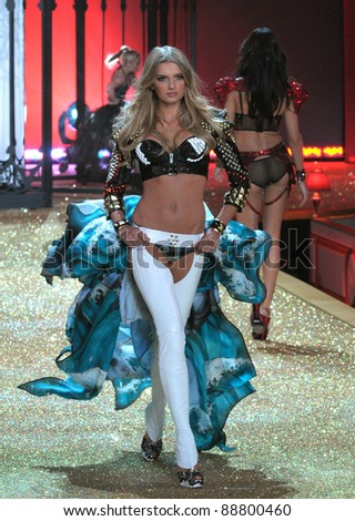 NEW YORK - NOVEMBER 10: Victoria's Secret model Lily Donaldson walks the runway during the 2010 Victoria's Secret Fashion Show on November 10, 2010 at the Lexington Armory in New York City. - stock photo