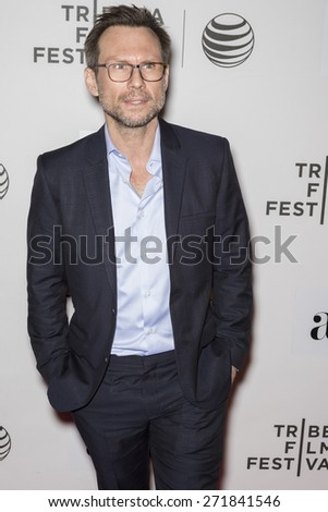 NEW YORK, NY - APRIL 16: Actor Christian Slater attends the premiere of 'Adderall Diaries' during the 2015 Tribeca Film Festival at BMCC Tribeca PAC - stock photo