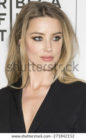 NEW YORK, NY - APRIL 16:  Actress Amber Heard attends the premiere of 'Adderall Diaries' during the 2015 Tribeca Film Festival at BMCC Tribeca PAC - stock photo