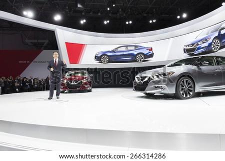 New York, NY - April 2, 2015: Chairman & CEO of Nissan Carlos Ghosn presents new Maxima at New York International auto show - stock photo