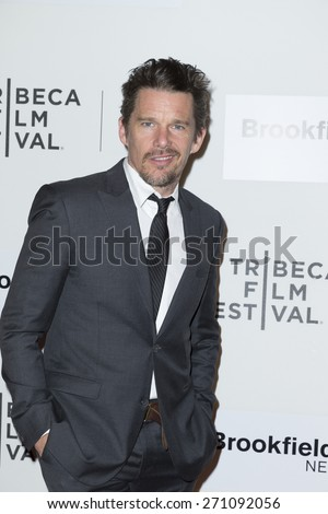 New York, NY - April 19, 2015: Ethan Hawke attends Tribeca Film Festival premiere of Good Kill film at BMCC Tribeca Performing Arts Center