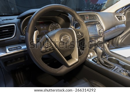 New York, NY - April 2, 2015: Interior of Nissan Maxima car on display at New York International Auto Show at Javits Center - stock photo