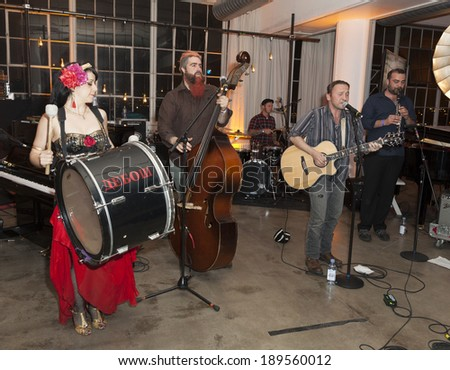 NEW YORK, NY - APRIL 26, 2014: Jazz band Debauche performs at 23rd annual Jazz loft party for Jazz Foundation of America at Hudson Studios