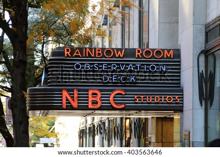 NEW YORK, NY-APRIL 10, 2016:  Rockefeller Center in midtown Manhattan is also known as the world headquarters for NBC News, the Saturday Night Live studios and the Rainbow Room.  - stock photo