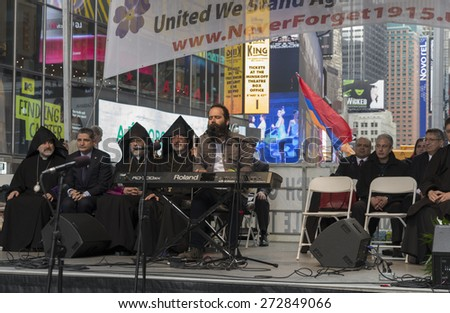 New York, NY - April 26, 2015: Sebu Simonian performs at rally in Manhattan Times Square to mark centennial of the deaths of 1.5 million Armenians under the Ottoman Empire in 1915 - stock photo