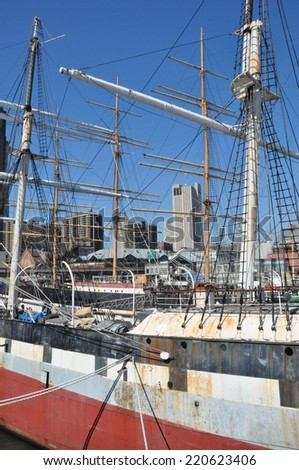 NEW YORK, NY - APRIL 12: The Wavertree, an iron-hulled sailing ship docked at South Street Seaport in New York City, as seen on April 12, 2014.