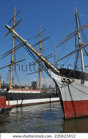 NEW YORK, NY - APRIL 12: The Wavertree, an iron-hulled sailing ship docked at South Street Seaport in New York City, as seen on April 12, 2014. - stock photo