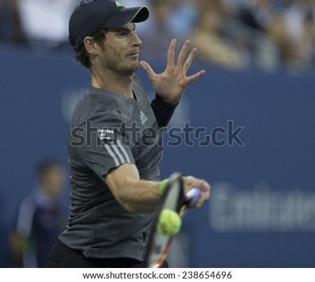NEW YORK, NY - AUGUST 28: Andy Murray of United Kingdom returns ball during 2nd round match against Matthias Bachinger of Germany at US Open tennis tournament in Flushing Meadows USTA Tennis Center 2014 - stock photo