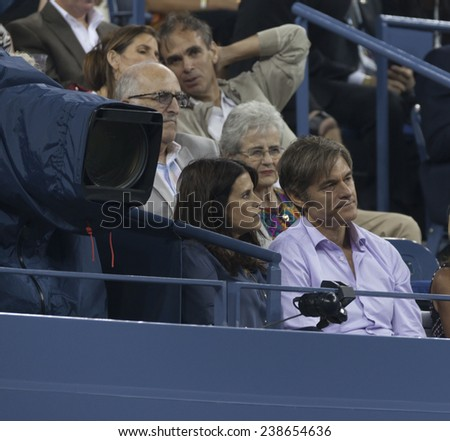 NEW YORK, NY - AUGUST 28: Dr. Oz attends 2nd round match between Andy Murray of United Kingdom & Matthias Bachinger of Germany at US Open tennis tournament in Flushing Meadows USTA Tennis Center 2014 - stock photo