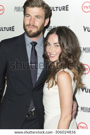New York, NY - August 12, 2015: Lyndon Smith and Austin Stowell attend the Public Morals New York series screening at Tribeca Grand Hotel Screening Room - stock photo
