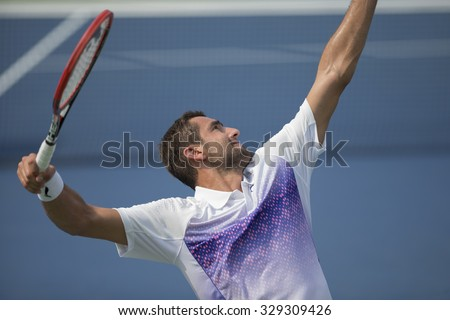 New York, NY - August 31, 2015: Marin Cilic of Croatia serves during 1st round match against Guido Pella of Argentina at US Open Championship