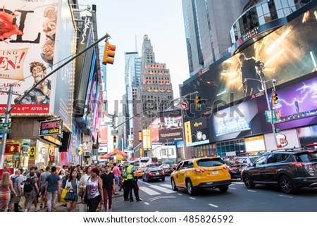New York, NY: August 28, 2016: New York Times Square large LED signs/billboards. On an average day, 360,000 people visit Times Square.