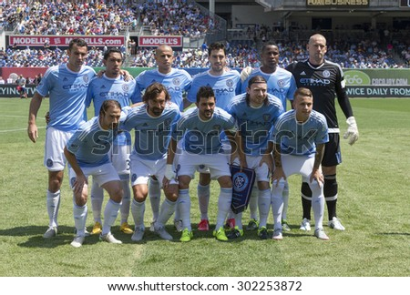 New York, NY - August 1, 2015: NYCFC team poses before game between New York City FC and Montreal Impact at Yankee Stadium - stock photo