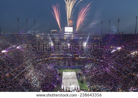 NEW YORK, NY - AUGUST 25: Opening ceremony of the US Open tennis tournament in Flushing Meadows USTA Tennis Center 2014 - stock photo