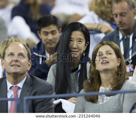 NEW YORK, NY - AUGUST 29, 2014: Vera Wang attends 2nd round match between Roger Federer of Switzerland & Sam Groth of Australia at US Open tennis tournament in Flushing Meadows USTA Tennis Center