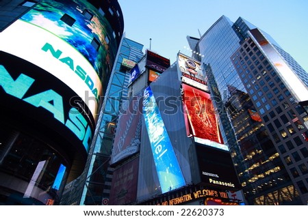 New York, NY - Dec 25: Christmas in Time Square December 25, 2008 in New York, NY - stock photo