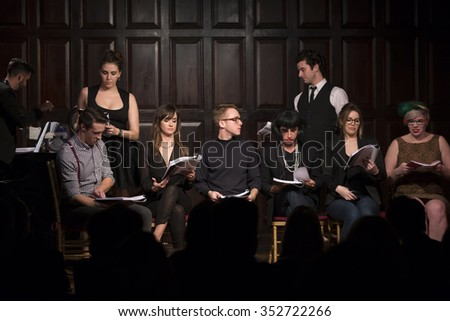 New York, NY - December 13, 2015: Cast performs Clue by Jonathan Lynn On 30th anniversary of film on stage at Players Club - stock photo