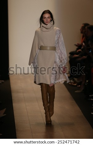 NEW YORK, NY - FEBRUARY 12: A model walks the runway at BCBGMAXAZRIA fashion show during Mercedes-Benz Fashion Week Fall 2015 at Lincoln Center on February 12, 2015 in New York City - stock photo