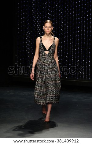 NEW YORK, NY - FEBRUARY 12: A model walks the runway at Milly fashion show during Fall 2016 New York Fashion Week on February 12, 2016 in New York City. - stock photo