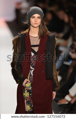 NEW YORK, NY- FEBRUARY 07: A Model walks the runway at the BCBG Max Azria Collection for Fall/Winter 2013  during Mercedes-Benz Fashion Week on February 07, 2013 in NYC.