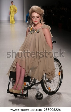 NEW YORK, NY - FEBRUARY 15: A model walks the runway at the FTL Moda fashion show during Mercedes-Benz Fashion Week Fall 2015 at The Salon at Lincoln Center on February 15, 2015 in NYC. - stock photo