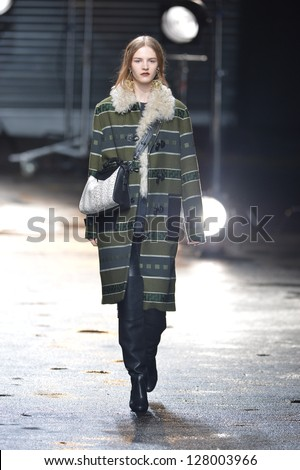 NEW YORK, NY - FEBRUARY 11: A model walks the runway at the 3.1 Phillip Lim fall 2013 fashion show during Mercedes-Benz Fashion Week on February 11, 2013 in New York City.