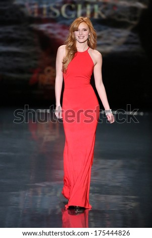 NEW YORK, NY - FEBRUARY 06: Bella Thorne, wearing Badgley Mischka, walks the runway at Go Red For Women - The Heart Truth Red Dress Collection 2014 Show on February 6, 2014 in New York City. - stock photo