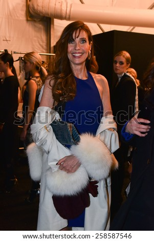 NEW YORK, NY - FEBRUARY 13: Carol Alt posing backstage at the Nicole Miller fashion show during MBFW Fall 2015 at Lincoln Center on February 13, 2015 in NYC. - stock photo