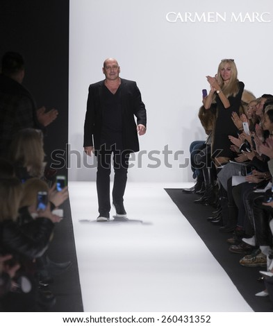 New York, NY - February 15, 2015: Designer Carmen Marc Valvo walks runway for Carmen Marc Valvo collection during Fall 2015 Fashion Week in Lincoln Center - stock photo