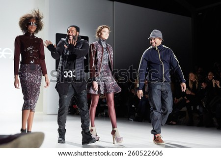 NEW YORK, NY - FEBRUARY 19: Designers and models walk the runway at the New York Life fashion show during MBFW Fall 2015 at Lincoln Center on February 19, 2015 in NYC. - stock photo